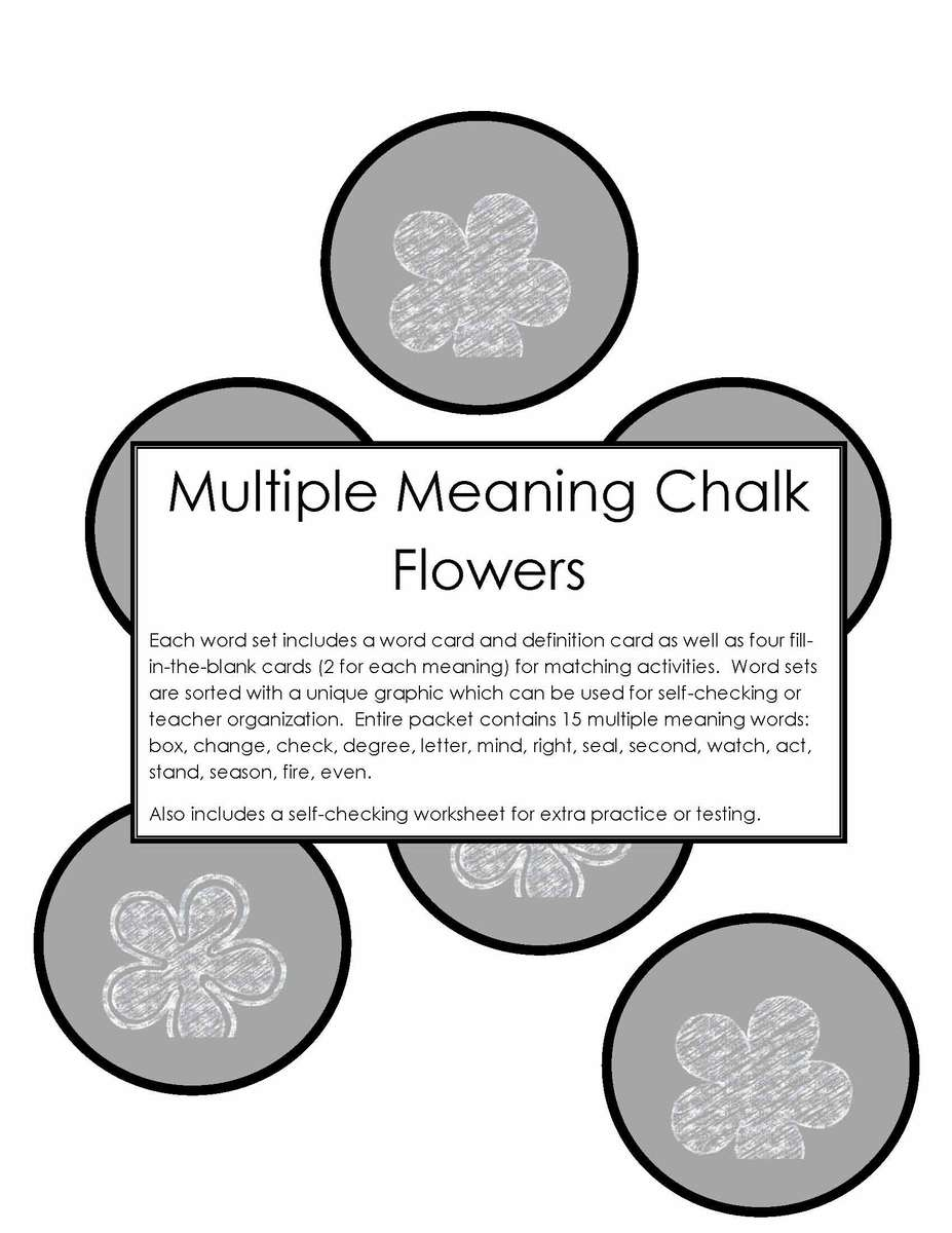 Multiple Meaning Chalk Flowers Activity Tailor – Multiple Meaning Word Worksheet