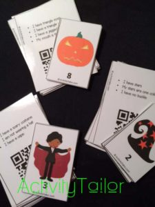 Halloween attributes object and clue cards copy