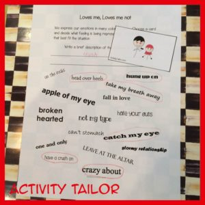Valentine idioms worksheet completed