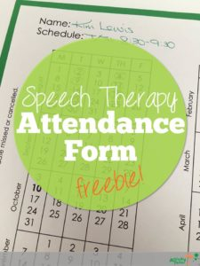 Speech Therapy attendance form freebie
