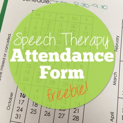 Free Speech Therapy Attendance Form for 2016-17