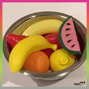 fruit salad made from toy fruit